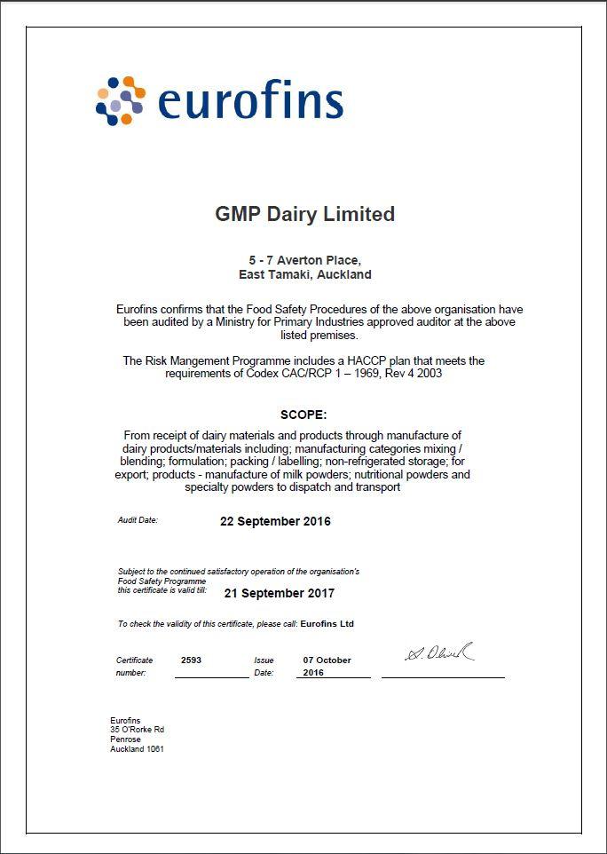 GMP Dairy HACCP cert
